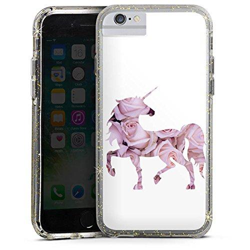 Apple iPhone 6 Bumper Hülle Bumper Case Glitzer Hülle Einhorn Unicorn Rosen Geschenk Bumper Case Glitzer gold