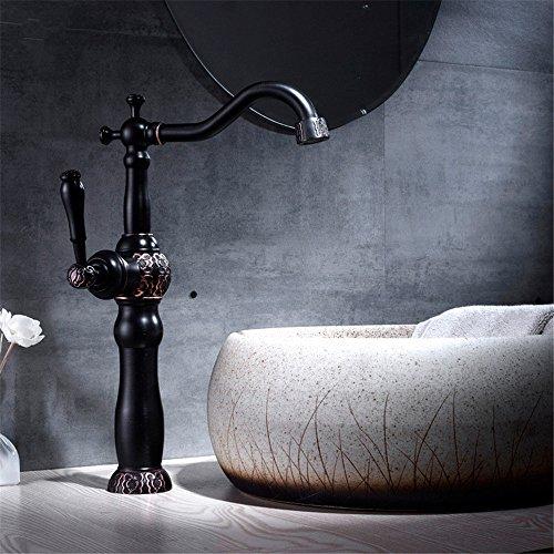 Grifo del lavabo Amazon vende negro armario Baño completo grifo cobre negro, frío y caliente solo agujero único control ambiental de ahorro de agua C resto aseguró a comprar