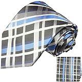 Blaues Schottenmuster XL Krawatten Set 2tlg 100% Seidenkrawatte (extra lang 165cm) + Einstecktuch by Paul Malone