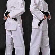 Uniforme Blanco Traje de Karate de Poli/Algodón incluye cinturón gratis M/W Preencogido, kimono blanco de karate, uniforme de karate blanco, traje de karate - poli-algodón elástico, 3/160cm Pequeño