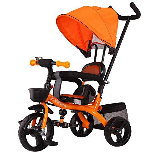 L.tsn DREI Kinderwagen Kinder Reiten Auf Dreirad Für Kinder Mit Sonnendach, Hinterer Speicher & Abnehmbarer Elterngriff, Orange (Fahrrad-speicher-korb)