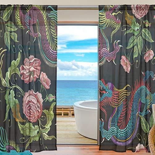 NaiiaN Gardine Dragon Flower 55x78 Zoll, 2 Platten Gitarre Voile Tüll Fenster Vorhang für Schlafzimmer Wohnzimmer Wohnkultur (Gelb-vorhang-panels Grau Und)