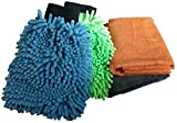 #4: Sobby Microfiber Cleaning Cloths 4 In 1 Combo For Car Care ( 2 Large Microfibre Cloths, 2 Big Size Microfiber Mitt Glove - Assorted Colors)