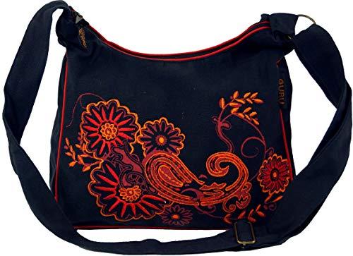 Guru-Shop Schultertasche, Hippie Tasche, Goa Tasche - Schwarz/rot, Herren/Damen, Baumwolle, Size:One Size, 23x28x12 cm, Alternative Umhängetasche, Handtasche aus Stoff - Rote Canvas-drucke