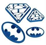 Moule à Biscuits Fait à la Main 4 pièces Emporte-pièces Batman Superman Sugarcraft Fondant Décoration de gâteau Forme de Cuisine Pâtisserie Outils de pâtisserie Moule à Biscuits Fait Main