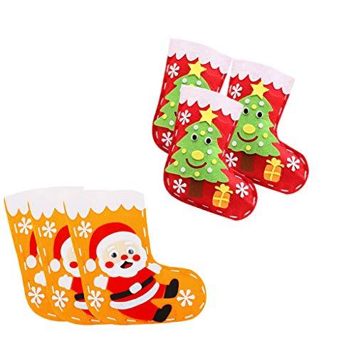 6 Set Kit Fatto a Mano in Feltro Calza Applique Regalo di Natale per Bambini Fai-da-Te - Babbo Natale e Albero