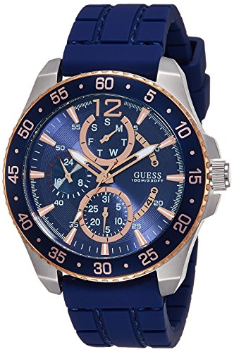 Guess (GVSS5) Men's Quartz Watch with Blue Dial Analogue Display and Blue Rubber Bracelet W0798G2