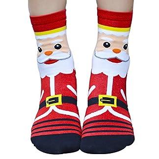 QHGstore 1 par de calcetines de las mujeres de las muchachas de la Navidad de Santa Claus 3D Patrón Planta de algodón