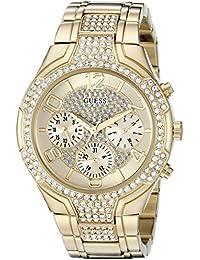 GUESS Femme Bracelet & Boitier Ton-Or - en Acier Inoxydable Quartz Cadran Doré Chronographe Montre U0628L2