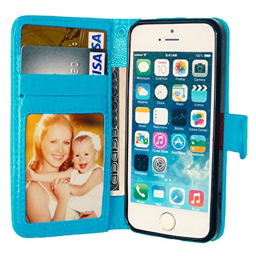 iPhone Case Cover Premium PU-lederner Fall-fester Farben-Mappen-Standplatz-Fall-Silikon-Abdeckung für iPhone 5S 5 SE ( Color : Blue , Size : IPhone 5S SE ) Blue