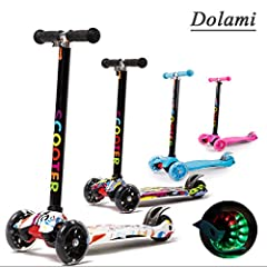 Idea Regalo - Twist & Roll Monopattino a 3 ruote per bambini con luci LED freestyle mini scooter,Graffiti Bianco(3-10 anni, Massimo carico: 60 kg) + Kit protezione(Manubrio regolabile in altezza)