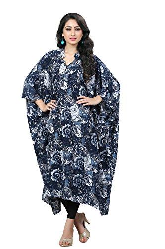 Justkartit Women's Navy Blue & White Colour Printed Floral Style Free Size Short Kaftan / Fancy Collar Neck Calf Length Kaftan For Party Wear / Ladies Party Wear Dresses 2017 / Latest Dubai Kaftans