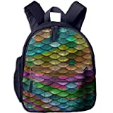 Lovely Schoolbag Mermaid Scales Double Zipper Waterproof Children Schoolbag Backpacks with Front Pockets for Teens Boy Girl