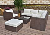 Hansson Polyrattan Lounge Sitzgruppe Gartenmöbel Garnitur Poly Rattan 3 bis 7 Sitzplätze plus Hocker (6 Sitzplätze + 1 Hocker (Variant A))