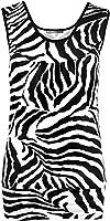 New Womens Zebra Black White Short Animal Print Vest Ladies Sleeveless Top 8-14