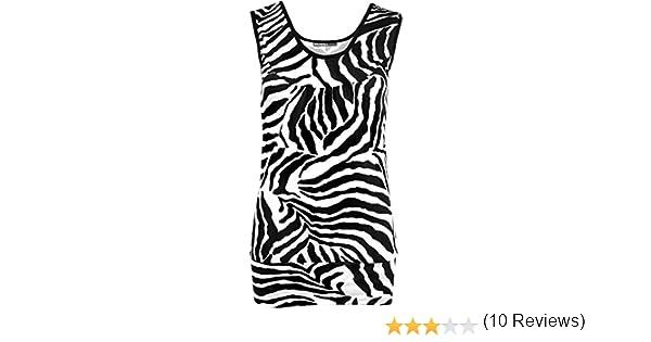 Hauts 36-42 WearAll Femmes Tailles Femmes Zebra Imprimer Manches D/ébardeur