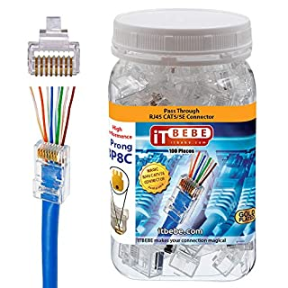 Gold Plated EZ RJ45 Cat6 Connector by itbebe Connector Cat5/ 5e/ 100 Pieces
