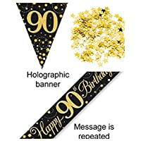 Everyoccasionpartysuppplies 90th Birthday Decoration Kit Banner Bunting Confetti Black And Gold Men Women Him Her