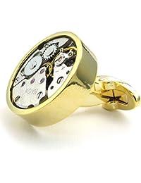 KONOV Herren Manschettenknöpfe, Kreis Mechanische Armbanduhr Uhrwerk, Legierung, Hemd Manschetten Knöpfe, Gold Silber