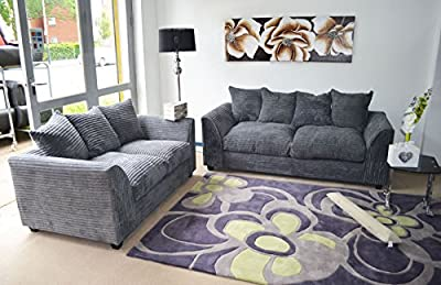 Dylan Byron Grey Fabric Jumbo Cord Sofa Settee Couch 3+2 Seater from Dylan