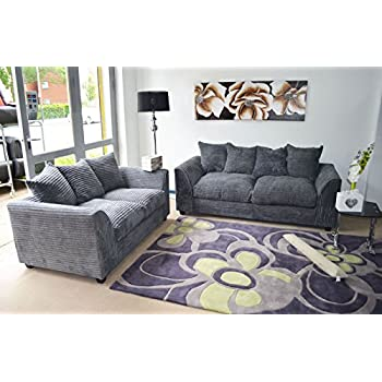 B U The sofa expert Grey Fabric Jumbo Cord Sofa Settee Couch 3+2 Seater