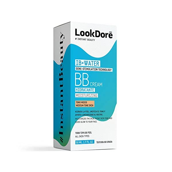 Lookdoré IB+Water BB Cream 50ml | 2 en 1 Base de Maquillaje y Crema Hidratante Facial | Unifica el tono y elimina…