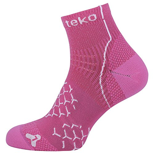 Teko Damen Evapor8 Adrenalin Light Cushion Mini-Crew Height Socken, Fuschia/White, Small -