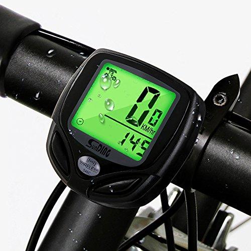 1c2cb9a55fbcad ... Display LCD Retroilluminato Contachilometri da Bicicletta Senza Fili  per misurare la velocità e la distanza durante i viaggi in bicicletta -  Black