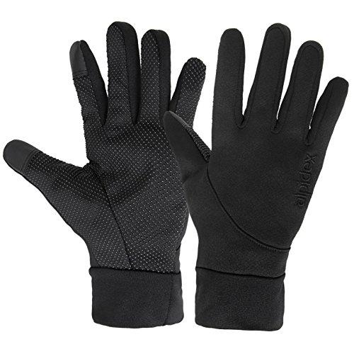 Softshell Sporthandschuhe LIGHT WOOLF von Alpidex Running Handschuhe Unisex Sport Handschuhe Nordic Walking Handschuhe für Damen und Herren mit Touchscreen-Funktion Fingerhandschuhe, Größe:M;Farbe:black