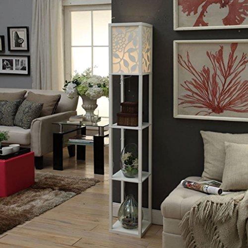 BR Moderne chinesische Art Geschnitzte Wohnzimmer-Stehlampe, Sofa-Dekoration-Blumen-Regal-Schlafzimmer-Nachttischlampen-kreatives Beleuchtung-Boden-Speicher-Gestell (Farbe : Weiß) (Pflanze Steht Indoor Weiß)