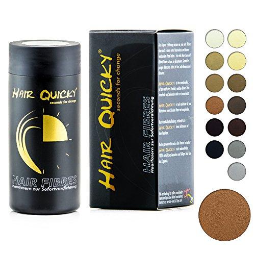 Hair Quicky® Premium Hair Fiber, Schütthaar, Soforteffekt bei Geheimratsecken, Teilglatze, Haarausfall und lichtem Haar, für Männer & Frauen, natürliches Keratin | 28g | Farbe rotbraun