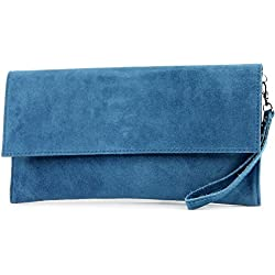 modamoda de - ital. Ledertasche Clutch Unterarmtasche Abendtasche Citytasche Wildleder T151 , Präzise Farbe:Jeansblau
