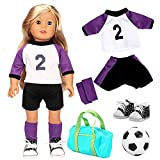 VAMEI 18 Inch American Girl Doll Clothes Shoes Accessories Mermaid Tail Costume Doll Nurse Uniform World Cup Soccer Uniform Princess Dress Rain Coat Girls Kids (World Cup Soccer Uniform)