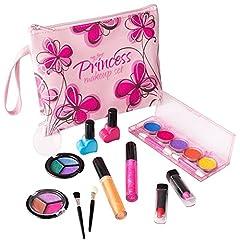 Idea Regalo - Playkidz- My First Princess Set Trucco Realistico (Lavabile) con Borsa cosmetica Floreale di Design, Colore Pink, PK3032