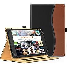 MoKo Funda Universal para 7 - 8 plagads Tableta - Slim Folding Stand Folio Cubierta PU Funda de Protección para ipad mini, Samsung Galaxy Tab 3, Google Nexus 2 7.0, Yoga Tab 3, ASUS ZenPad 8, Negro & marrón