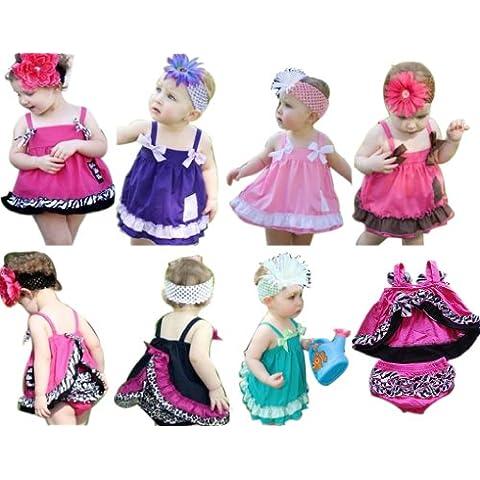 Kubee Baby-Vestiti per bambini, 3 pezzi, Infant fascia increspata Bloomers