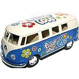 Volkswagen VW Samba Bus Van 1:32 Modelo de Escala Vehículo Flower Power Amor y Paz Coche