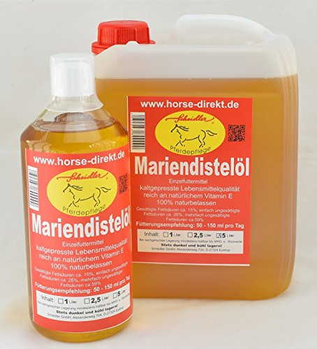 Horse-Direkt Mariendistelöl, 100% Rein, kaltgepresst 6 Liter Lebensmittelqualität -