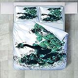 4 Teilige Bettwäsche Set Blume Schöne Frau Gedruckt Polyester Bettbezug Mit Kissenbezügen Bettbezug-Set Pflegeleicht Weich Glatt Für Alle Jahreszeiten Geeignet