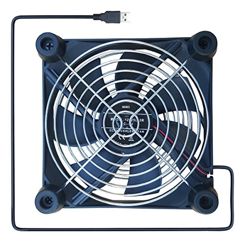 MERES USB Silent Cooling Fan mit Doppelten Gittern und Gummifüßen für den Airport Express Router, HDD Gehäuse , PS , Xbox , Kühler für Zeit Kapsel mit Der Größe 120 x 120 x 25mm(12CM) (Router Airport Express)