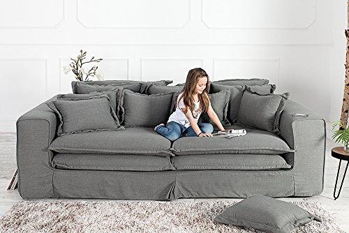 XXXL Hussensofa CLOUD grau Leinen Stoff Hussen 230cm Sofa Wohnlandschaft Couch Wohnzimmer - 7