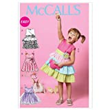 McCall Patterns M6496 Size CL 6-7-8 Children's/ Girls' Dresses, Belt and Bag, Pack of 1, White
