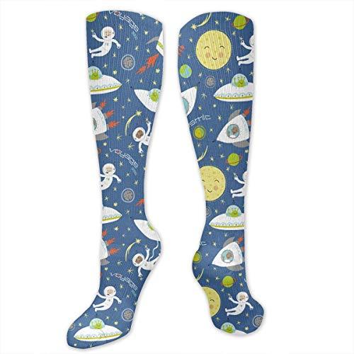 Gped Kniestrümpfe,Socken, Cosmic Space Moon Star Rocket Women's Girls Knee High Socks Sports Stockings Football Long - Rocket Girl Kostüm