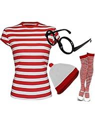 Donde esta para mujer WALLY rojo y blanco gorro tipo T-camiseta de manga corta calcetines de disfraz infantil de copas de disfraz de (S/M)