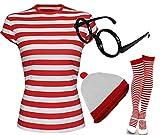 Rot & Weiß gestreiftes T Shirt für Damen, Mütze, Brille, Socken (Verkauft separat oder als Set) Gr. Large-12 UK, T-Shirt+Hat+Glasses+Socks