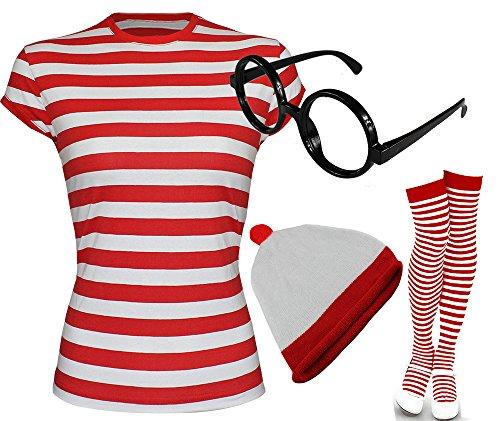 Wally Where's Wenda Kostüm - Rot & Weiß gestreiftes T Shirt für Damen, Mütze, Brille, Socken (Verkauft separat oder als Set) Gr. Large-12 UK, T-Shirt+Hat+Glasses+Socks
