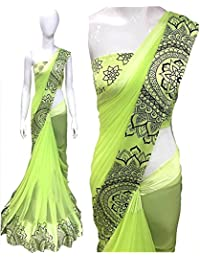 High Glitz Fashion Women's Party Wear Georgette Saree With Blouse Piecs