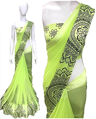 High Glitz Fashion Women's Party Wear Green Colour Georgette Saree With Blouse...