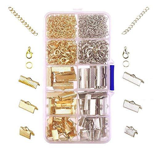 Jzk 370 x tonalità argento oro kit per bigiotteria fai da te - ganci chiusure moschettone anellini aperti catenelle morsetti per chokers collane braccialetti bracciali