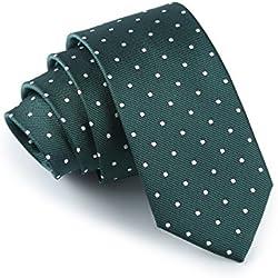Elviros Corbata estrecha con lunares para hombres fina original para negocios, fiestas o bodas 6 cm
